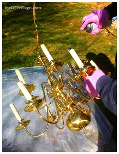 Tutorial on upcycling your old brass chandeliers