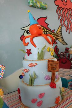 What a cute cake at an Under the Sea birthday party!  See more party ideas at CatchMyParty.com!