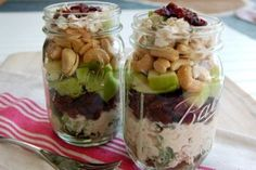 Mason jar chicken salad. Buy or make chicken salad and simply layer cranberries, avocados, and cashews.