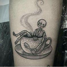 Skeleton tea cup tattoo. Suflanda Instagram tattoo