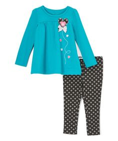 This Blue Heart Tunic & Black Floral Dot Leggings - Toddler & Girls is perfect! #zulilyfinds