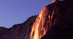 At first glance, this fiery waterfall might seem like it can be found in Mordor, but it's actually located in Yosemite National Park in California. Every F