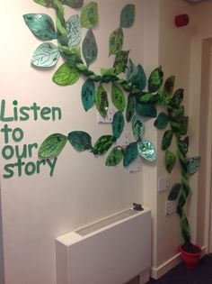 Early Years- speaking and listening display. The children have each helped to create a beanstalk leaf. We then retold the story of Jack and the Beanstalk and recorded this onto talking postcards. Can you see the postcards on our beanstalk? Door Displays, School Displays, Library Displays, Classroom Displays, Classroom Themes, Classroom Crafts, Preschool Garden, Preschool Poems, Enchanted Forest Book