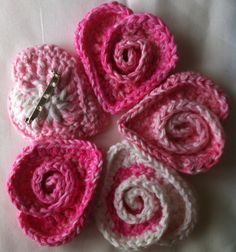 Crochet Heart Pin - Swirly Heart - Rose Heart - Teacher Gift - Made to Order