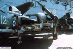Damage caused to 899 NAS after it had to take the barrier on landing, some time in Military Jets, Military Aircraft, Royal Navy Aircraft Carriers, Thunder And Lightning, Futuristic Cars, Military History, Wwii, Fighter Jets, Photo Galleries