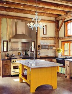 Kitchen, barn style, love the yellow island, probably would do a dark red or light blue
