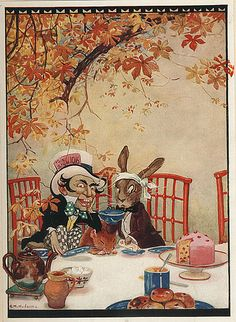 Gwynedd M. Hudson - Mad Hatter's Tea Party    From Alice's Adventures in Wonderland, published by Boots, undated, 1930s.
