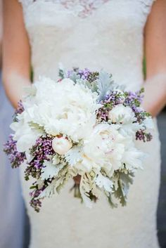 Blue Wedding Flowers - If you've chosen purple, lavender, plum or blue as your signature colour, browse this gallery to find the perfect wedding bouquet to complement your style. Bouquet Bride, Peony Bouquet Wedding, Lavender Bouquet, Purple Wedding Bouquets, Peonies Bouquet, Floral Wedding, Lace Wedding, Wedding Dresses, Flower Bouquets