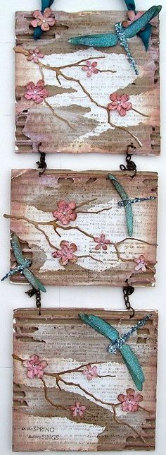 is gorgeous! I love the look of the worn cardboard.I am going to do a butterfly project! and I might even use real twigs instead of painting them or die cutting! Butterfly Project, Dragonfly Art, Cardboard Crafts, Cardboard Painting, Mixed Media Canvas, Decoration, Art Projects, Craft Ideas, Mosaics