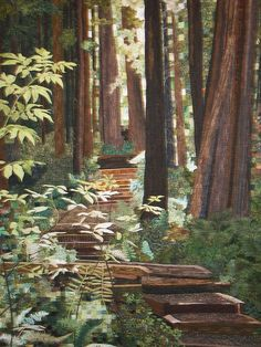 "This award-winning quilt is titled ""Forest Walk"" by Pat Durbin of Eureka, CA. Landscape Art Quilts, Tree Quilt, Contemporary Quilts, Applique Quilts, Tree Art, Fabric Art, Textile Art, Collage Art, Fiber Art"