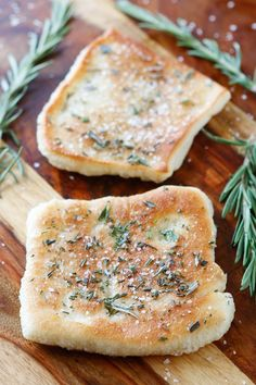 The PERFECT appetizer or side dish to serve with dinner! This bread is SO quick and easy to whip up. It's lightly fried in olive oil and topped with fresh rosemary and sea salt. The perfect combination!! You have to make this!!