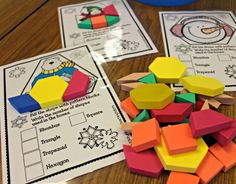 Tunstall's Teaching Tidbits: January Jumpstart {A Day at School}: These shape puzzles would make a fun math center in the library! Preschool Math, Math Classroom, Kindergarten Math, Teaching Math, Fun Math, Math Resources, Math Activities, Summer Activities, Math Stations