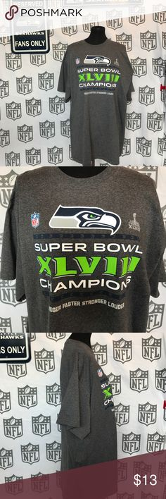"""Seahawks Super Bowl champ Tee 💚💙 NWOT Seahawks Super Bowl champions Tee Unisex Size XXL chest measures 24"""" and is 31"""" long 💚💙 Seahawks Tops Tees - Short Sleeve"""