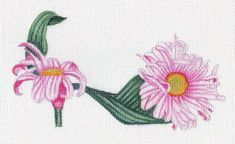 Handpainted Pink Daisy Slipper needlepoint canvas by colors1