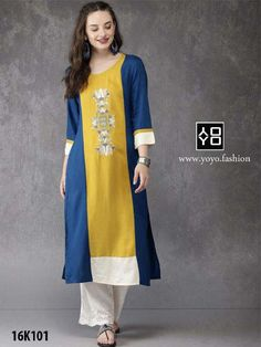 Yellow and Blue Rayon Kurti- Diwali Dresses - - New Kurti Designs, Diwali Dresses, Girl Online, Lehenga Choli, Insta Makeup, Yellow, Blue, Pattern Design, Summer Outfits