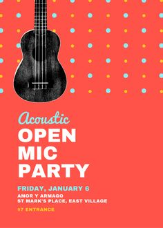 Open Mic Party Guitar Flyer