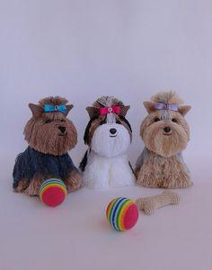 www.ArtofSweetMemories.Etsy.com Knitted Biver York Terrier Dog, Handmade Knitted Biver Terrier, Biver Yorkshire Terrier Crochet Dog, Stuffed Dog, Amigurumi, Biver, Yorkie