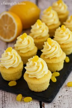 Triple Lemon Baby Cakes with Lemon Pudding Cream - afarmgirlsdabbles.com #cupcakes #cupcakeideas #cupcakerecipes #food #yummy #sweet #delicious #cupcake