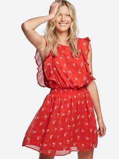 Eloise kjole med volanger | 7218450 | Rød | Cubus | Norge