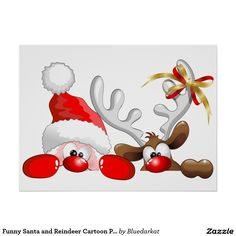 Funny Santa and Reindeer Cartoon Poster
