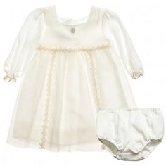 baby Dior  Ivory Silk Tulle Dress & Pants
