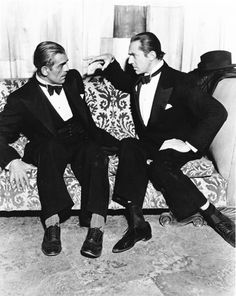 """Boris Karloff and Bela Lugosi, Two of the great horror stars. Can't help but be reminded of the great line from the movie Ed Wood delivered by Martin Landau playing Lugosi: """"Karloff? Sidekick? FUCK YOU! Karloff did not deserve to smell my shit! That limey cocksucker can rot in Hell for all I care!"""""""