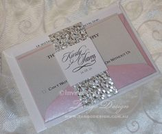 Bundled wedding invitations with silver pebble handmade paper by Invitations by tango #handmadeweddinginvitation #silverwedding #pinkwedding