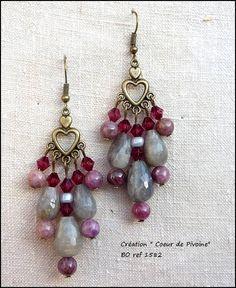 boucles d'oreilles romantiques grise et rose