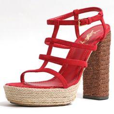 6ea8fe0e0d06 Saint Laurent Red Yves Suede Leather Platform Ysl Heels Strappy Sandals Size  EU 40 (Approx. US 10) Regular (M