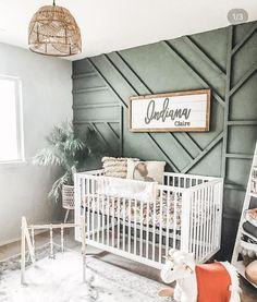 Baby Nursery Decor, Baby Decor, Accent Wall Nursery, Baby Nursery Ideas For Girl, Nursery Room Ideas, Green Nursery Girl, Baby Room Wall Decor, Nursery Wall Murals, Nursery Signs