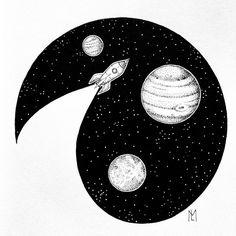 #art #ink #fineliner #blackandwhite #drawing #inkart #tattoo #illustration #iblackwork #thedotworkers #arts_help #arts_gallery #dotart #dotwork #rocket #space #planet #stars #night #galaxy #circle #