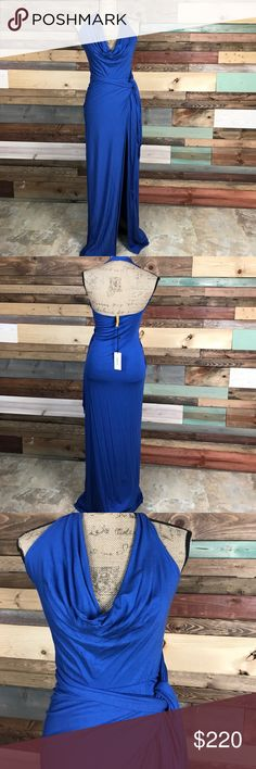 "Rachel Pally Colbalt Antonia Dress High Slit Maxi Rachel Pally Colbalt Antonio Dress High Slit Maxi Halter // 92% Modal / 8% Spandex // approx 58"" length Rachel Pally Dresses Maxi"