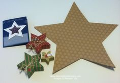 Yesterday, I showed you a card using the stamp set I received as one of my pillow gifts in DC. The other half of that gift (as if the set wasn't enough!) was this cool Many Merry Stars Simply Created Kit: This kit has everything you need to make Stampin Up Many Merry Stars, Star Cards, Stamping, Boxes, Kit, Create, Holiday, Crates, Vacations
