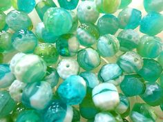 10 x 8mm Czech Glass Beads Green and White Oblong Bols by Snoochy