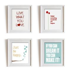 Etsy Wall decor art prints set of 4 inspirational quotes for living room bedroom office decoration, live what you love, choose your own. $39.00, via Etsy.