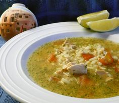 """Mexican Chicken Rice Soup (Caldo Cantina) from Food.com:  Use plenty of lime, raw onion annd cilantro!  You could use vegetable stock here if you prefer (instead of the chicken stock).  This is from Mark Bittman's book, :""""The Best Recipes in the World."""""""