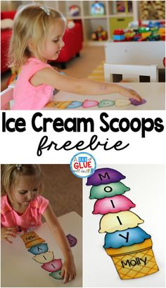 Ice Cream Scoops Name Activity is part of Name activities - The Name Game Activity Ice Cream Scoops Freebie is the perfect option for helping kids learn to spell their own name! Grab our free printable option here! Preschool Names, Kindergarten Literacy, Preschool Learning, Literacy Activities, Preschool Activities, Summer Activities, Alphabet Activities, Preschool Routine, Literacy Centres