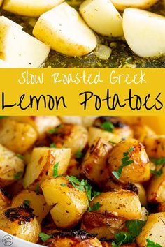 These authentic slow roasted Greek lemon potatoes are packed with delicious fresh zesty flavors of lemon, garlic, and oregano. Roasted Vegetable Recipes, Vegetable Dishes, Veggie Recipes, Vegetarian Recipes, Cooking Recipes, Healthy Recipes, Sprouts Vegetable, Vegetarian Grilling, Healthy Grilling