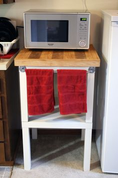 DIY Microwave Stand - 2 Ikea LACK table & BYGEL rack