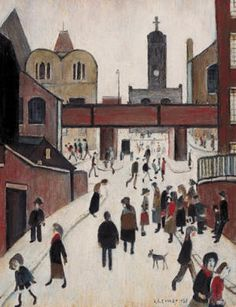 Street Scene with Viaduct, by L S Lowry