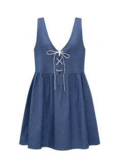 Specification    Dress Length: Mini   Season: Summer   Collar: V-Neck  Material: Denim   Pattern: Pure Color   Silhouette: A-line   Color: Blue   Sleeve Length: Sleeveless   Style: Casual,Sexy