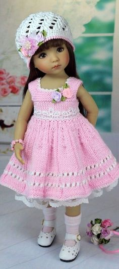 Pretty in pink Knitting Dolls Clothes, Crochet Doll Clothes, Knitted Dolls, Doll Clothes Patterns, Girl Doll Clothes, Crochet Dolls, Girl Dolls, Baby Dolls, Woolen Clothes