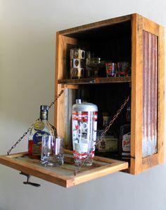 Rustic Hanging Liquor Cabinet - Murphy Bar - Wall Bar - Wine Rack - Made to Order Murphy Bar, Liquor Bar, Wall Bar, Barn Wood, Home Projects, Wine Rack, Liquor Cabinet, Sweet Home, Gadgets