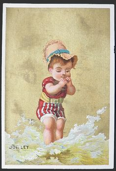 French Victorian Trade Cards ~ 12 Months of Children, Old Postcards & Trade Cards