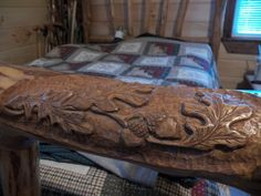 wood+furniture+with+acorns+carved+in+them | ... My Sourwood Bed: I carved oak leaves and acorns on the right end rail