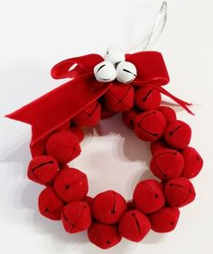 Beautiful soft ring!  Christmas Bell Ornament Wreath 3 Inch Vintage Red Velvet Handcrafted $8.50