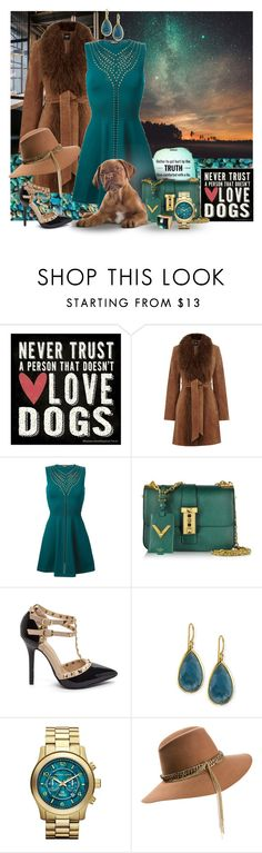"""""""Studs Everywhere, Dress, Shoes, Bag & a Stud (???) Doggy...!  (Contest entry)"""" by mary-gereis ❤ liked on Polyvore featuring Thirstystone, Oasis, Roberto Cavalli, Valentino, Ippolita, Michael Kors, Maison Michel, women's clothing, women's fashion and women"""