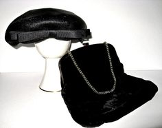 Frost Bros Pillbox Hat w Garay Black Velvet Evening / 50s Couture Set