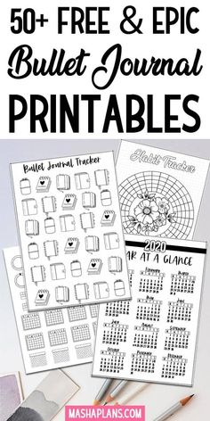 Looking for free Bullet Journal printables Snag some of these to stay organized and plan efficiently the whole year Includes all types of Bullet Journal pages weekly spreads habit trackers future log calendex gratitude log and so many