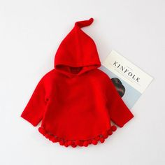 - Little Red Riding Hood Sweater - Closure Type: None - Sleeve Length(cm): Full - Pattern Type: Solid - Model Number: Mil0812 - Fit: Fits true to size, take your normal size - Collar: Hooded - Material: Cotton - Growth: 80-120 cm - China tag size: 4-6-8-10-12 - Color: Pink ;Red ;Yellow - Material: Knitted